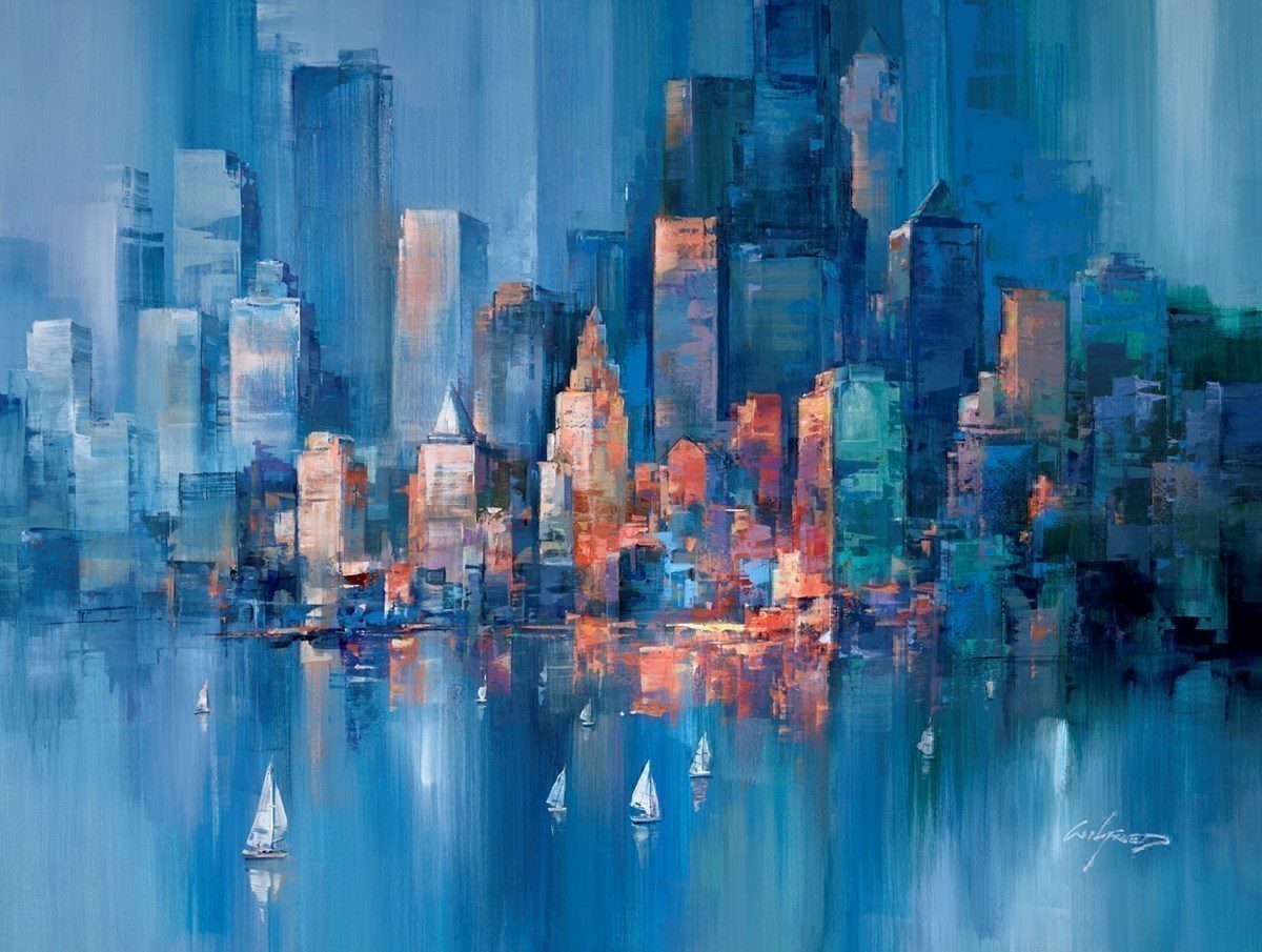 Blue Towers V by Wilfred -  sized 46x34 inches. Available from Whitewall Galleries